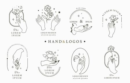Beauty occult logo collection with hand, rose, crystal, moon, star, heart.Vector illustration for icon, logo, sticker, printable and tattoo 向量圖像