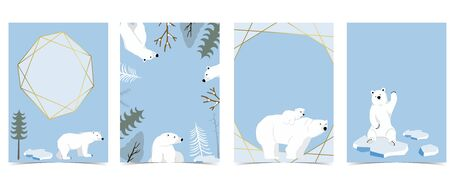 Collection of polar bear background set with ice and tree. Editable vector illustration for website, invitation, postcard and sticker 向量圖像