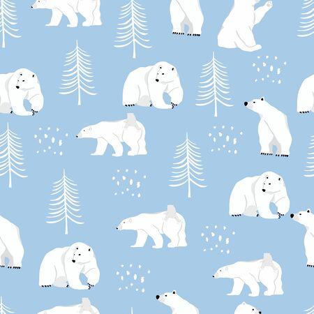 Watercolor winter background with polar bear,tree.Vector illustration seamless pattern