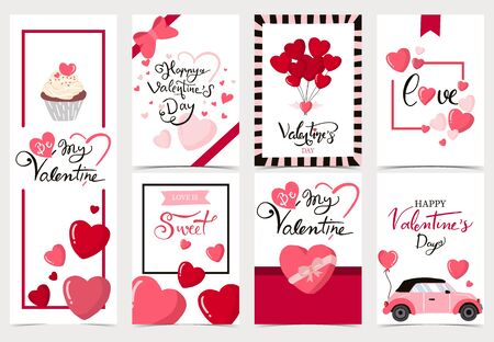 Raccolta di sfondo di San Valentino con cuore, cupcake, palloncino. Illustrazione vettoriale modificabile