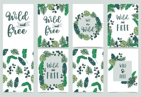 Collection of jungle background set with leaf.Editable vector illustration for birthday invitation, postcard and sticker.Wording include wild and free
