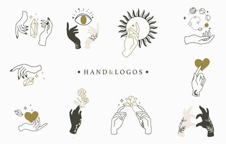 Beauty occult logo collection with hand, rose, crystal, heart, eye, sun. Vector illustration 向量圖像