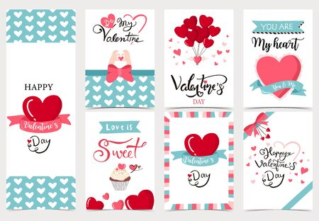 Collection of valentine's day background set with heart,cupcake,balloon. Editable vector illustration for website, invitation,postcard and sticker.Wording include you are my heart