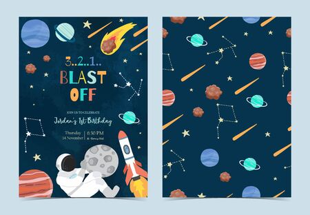 Collection of space background set with astronaut, sun, moon, star,rocket.Editable vector illustration for website, invitation,postcard and sticker. Archivio Fotografico - 138432493