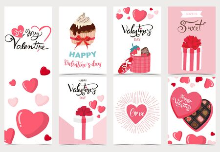 Collection of valentines day background set with heart, cupcake, chocolate. Editable vector illustration for website, invitation, postcard and sticker. Wording include love you, you are my heart