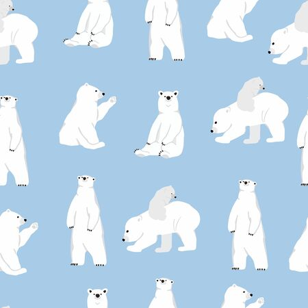 Watercolor winter background with polar bear.Vector illustration seamless pattern