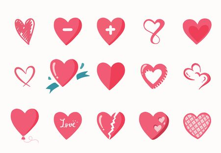 Cute object valentine collection with heart.Vector illustration for icon