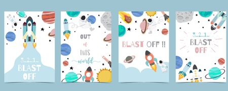Collection of space background set with astronaut, sun, moon, star, rocket.Editable vector illustration for website, invitation, postcard and sticker.Include wording out of this world, blast off 向量圖像
