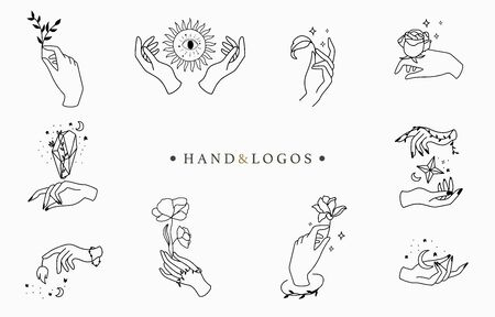 Beauty occult logo collection with hand, rose, crystal, moon, star. Vector illustration for icon, logo, sticker, printable and tattoo