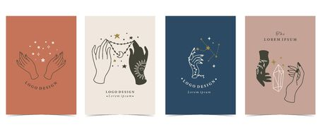 Collection of occult background set with hand, crystal, moon, star. Editable vector illustration for website, invitation, postcard and sticker 版權商用圖片 - 138432660