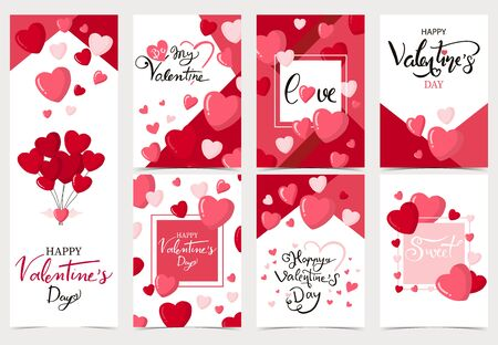 Collection of valentine's day background set with heart, balloon. Editable vector illustration for website, invitation, postcard and sticker. Wording include be my valentine Illustration