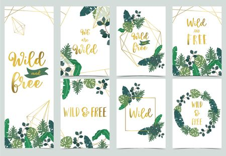 Collection of jungle background set with leaf.Editable vector illustration