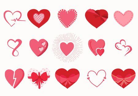 Cute object valentine collection with heart. Vector illustration for icon 向量圖像