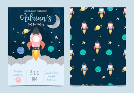 Collection of space background set with moon, star,rocket.Editable vector illustration for website, invitation,postcard and sticker 向量圖像