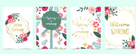 Collection of spring background set with pink flower, green leaves,geometric.Editable vector illustration for website, invitation,postcard and sticker.Include wording welcome spring, hello spring 版權商用圖片 - 138432837