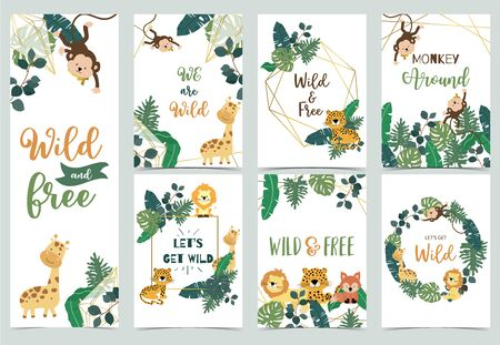 Collection of safari background set with giraffe,leopard,monkey,lion.Editable vector illustration for birthday invitation,postcard and sticker.Wording include wild and free 向量圖像