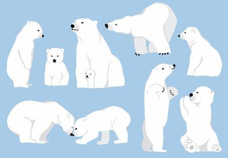 Caractère simple d'ours blanc. Caricature de doodle de caractère d'illustration vectorielle Vecteurs