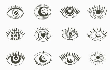 Beauty occult logo collection with eye,star,moon.Vector illustration for icon,logo,sticker,printable and tattoo Logó