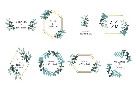 Leaf boho collection with leaves,geometric.Vector illustration for sticker,printable and tattoo