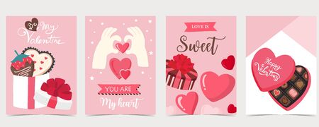 Collection of valentine�s day background set with chocolate,heart.Editable vector illustration for website, invitation,postcard and sticker.Wording include love is sweet