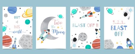 Collection of space background set with astronaut, moon, star,rocket.Editable vector illustration for website, invitation,postcard and sticker.Include wording blast off