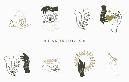 Beauty occult collection with hand,geometric,crystal,moon,eye,star.Vector illustration for icon,sticker,printable and tattoo Ilustracja