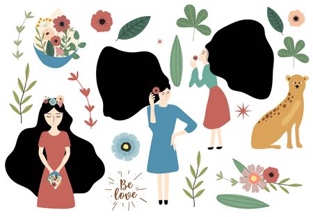 Cute object womens day collection with woman,hair,flower.Vector illustration for icon,sticker,printable