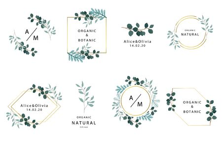 Leaf boho collection with leaves,geometric.Vector illustration for icon,sticker,printable and tattoo Ilustracja