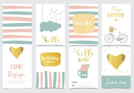 Collection of cards set with heart,cloud,rain.Vector illustration for birthday invitation,postcard and sticker.Editable element Ilustracja