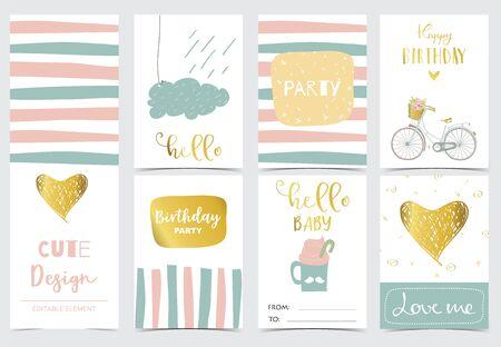 Collezione di carte con cuore, nuvola, pioggia. Illustrazione vettoriale per invito di compleanno, cartolina e adesivo. Elemento modificabile Vettoriali