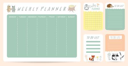 cute weekly planner background for kid with bear,skunk,fox,hedgehog
