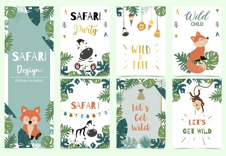 Green,gold collection of safari background set with lion,monkey,giraffe,zebra,geometric vector illustration for birthday invitation,postcard,and sticker.Wording include wild one,wild and free