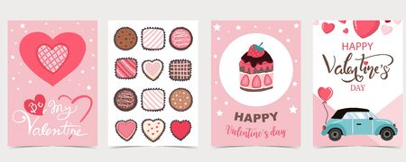 Collection of valentine's day background set with chocolate,heart.Editable vector illustration for website, invitation,postcard and sticker