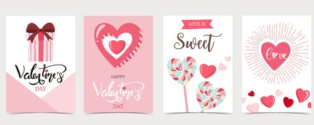 Collection of valentine's day background set with gift,candy.Editable vector illustration for website, invitation,postcard and sticker.Wording include be my valentine