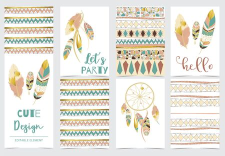 Collection of boho cards set with feather,dreamcatcher.Vector illustration for birthday invitation,postcard and sticker.Editable element Ilustracja