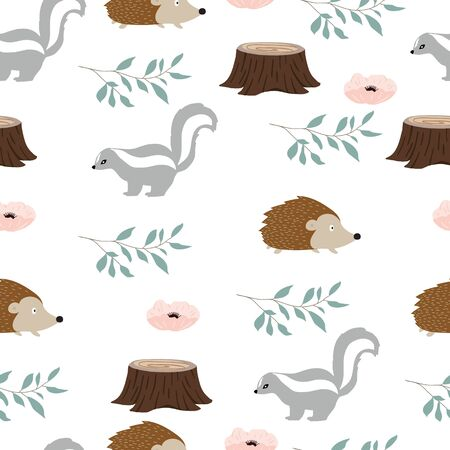 Cute woodland background with skunk,squirrel.Vector illustration seamless pattern for background,wallpaper,frabic.Editable element Ilustracja