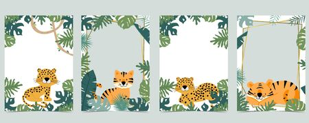 Green animal collection of safari frame set with tiger, leopard vector illustration for birthday invitation,postcard,and sticker