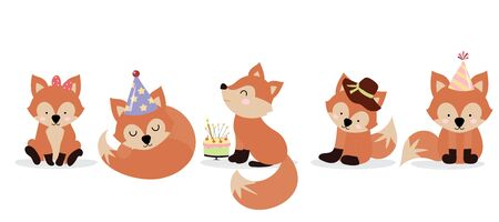 Cute fox character are standing,sitting and sleeping. Vector illustration for birthday invitation,postcard and sticker.Editable element Ilustracja