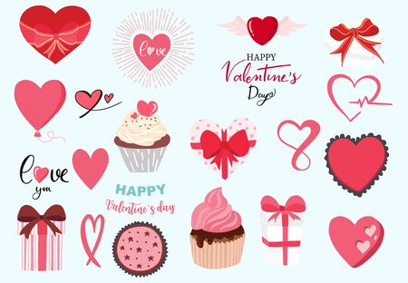 Cute object valentine collection with chocolate,strawberry,cupcake.Vector illustration for icon,sticker,printable