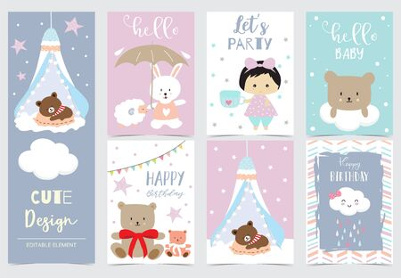 Collection of animal cards set with girl,bear,rabbit,cloud.Vector illustration for birthday invitation,postcard and sticker.Editable element