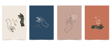 Collection of occult background set with hand,planet,arrow,moon.Editable vector illustration for website, invitation,postcard and sticker
