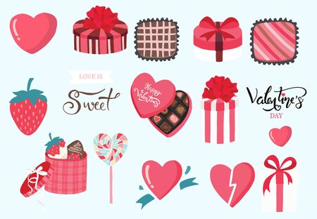 Cute object valentine collection with chocolate,strawberry,cupcake.Vector illustration for icon,logo,sticker,printable