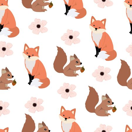 Cute woodland background with squirrel,fox.Vector illustration seamless pattern for background,wallpaper,frabic.Editable element