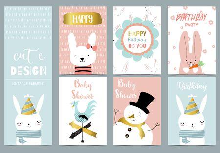 Cute kid background with snowman,rabbit,flower for birthday invitation