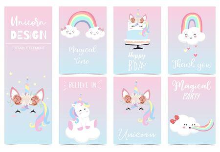 Cute kid background with unicorn,rainbow,pink,cloud for birthday invitation