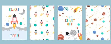 Collection of space background set with astronaut, sun, moon, star,rocket.Editable vector illustration for website, invitation,postcard and sticker.Include wording blast off