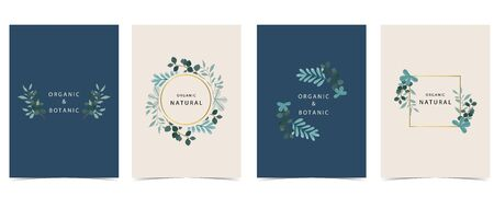 Collection of natural background set with leaf,geometric.Editable vector illustration for website, invitation,postcard and sticker