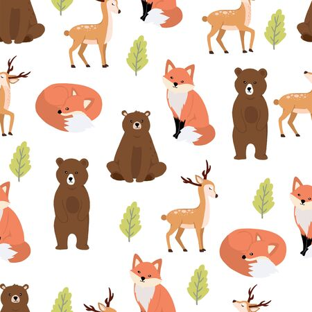 Cute woodland background with bear,fox.Vector illustration seamless pattern for background,wallpaper,frabic.Editable element