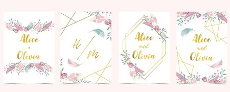 Pink green gold geometry wedding invitation with rose,flower,heart and leaves.Vector birthday invitation for kid and baby.Editable element Illustration