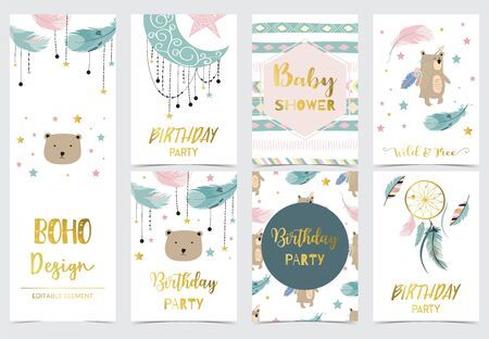 Cute kid background with dreamcatcher,feather,bear,star for birthday invitation